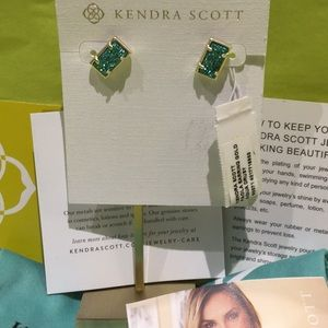 Kendra Scott Paola earring gold aqua drusy